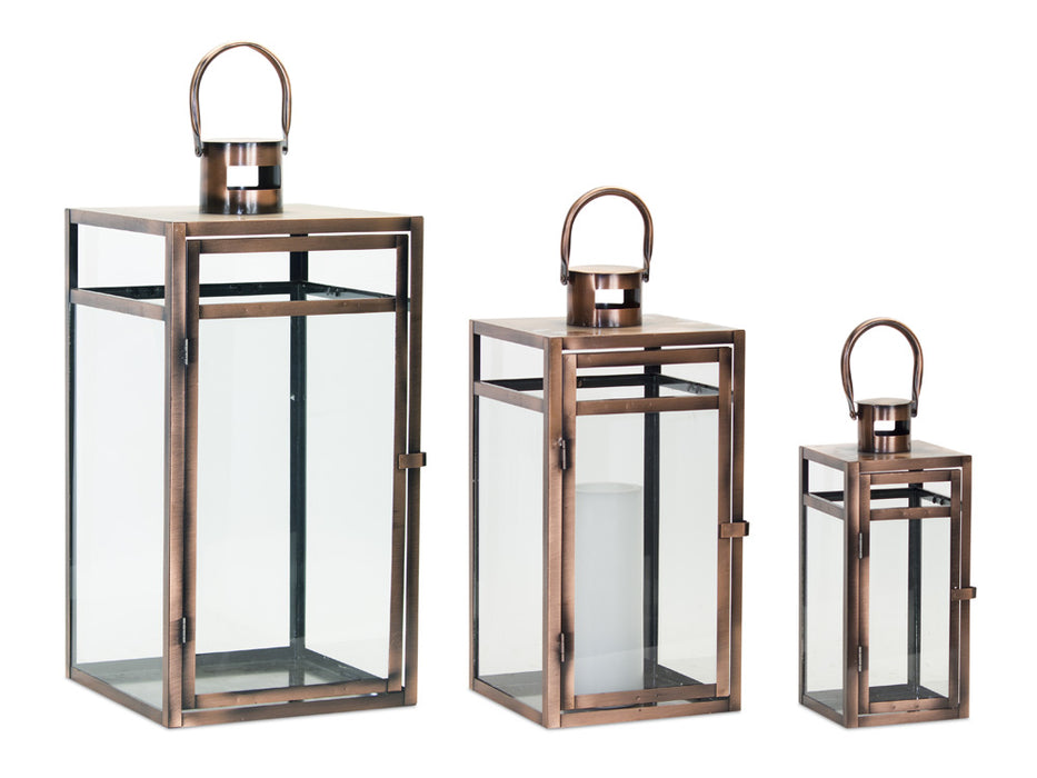 "Lantern (Set of 3) 11.75""H, 16""H, 20.5""H Metal/Glass"