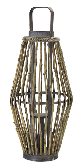 "Candle Holder 20""H Bamboo/Rope"
