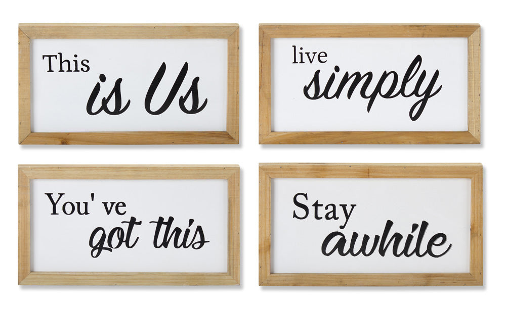 "Sign (Set of 4) 13"" x 7.25""H Iron/Wood"
