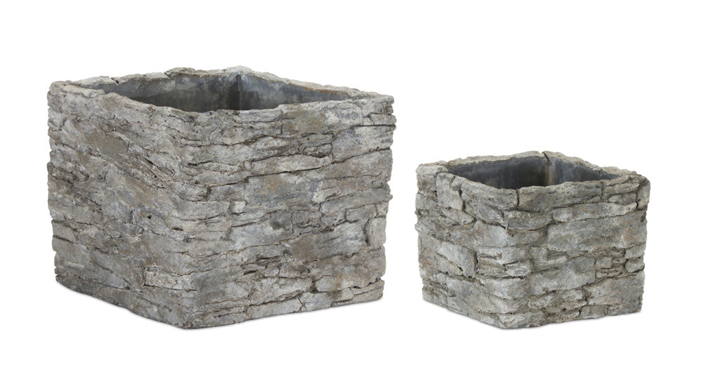 "Square Pot (Set of 4) 5.25"" x 4""H, 7.5"" x 6.5""H Cement"