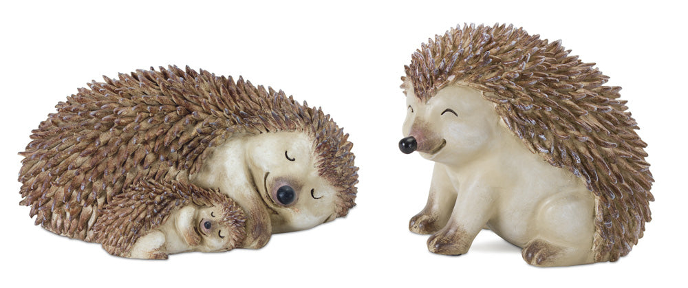 "Hedgehog (Set of 2) 7"" x  3.25""H, 4"" x 4.75""H Resin/Stone Powder"