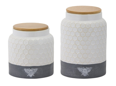 "Canister (Set of 2) 6""H, 8""H Ceramic"
