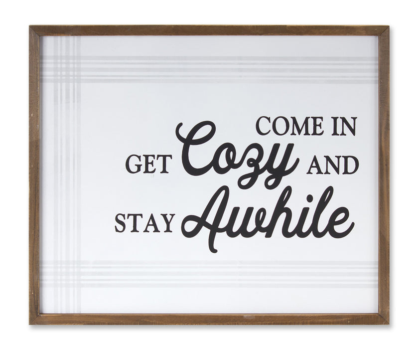 "Get Cozy Plaque (Set of 2) 19.5"" x 16.25""H MDF/Wood"