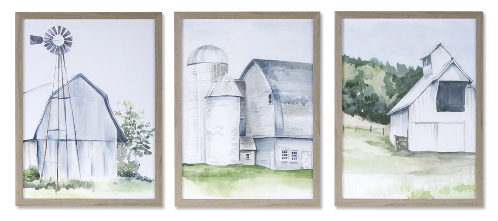 "Framed Farm Print (Set of 3) 11.5"" x 11.5""H Plastic/MDF"