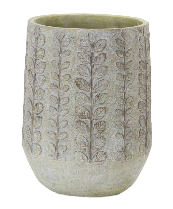 "Pot With Fern (Set of 2) 7.5"" x 10""H Cement"