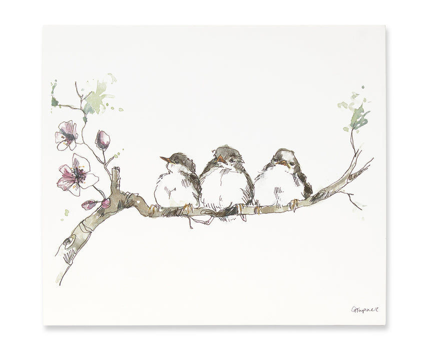 "Birds On Dogwood Branch Plaque (Set of 2) 17.75"" x 15.75""H Canvas/MDF"