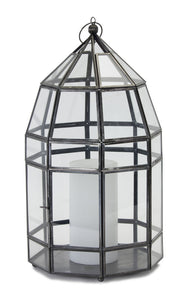 "Lantern 8"" x 15""H Glass/Iron"