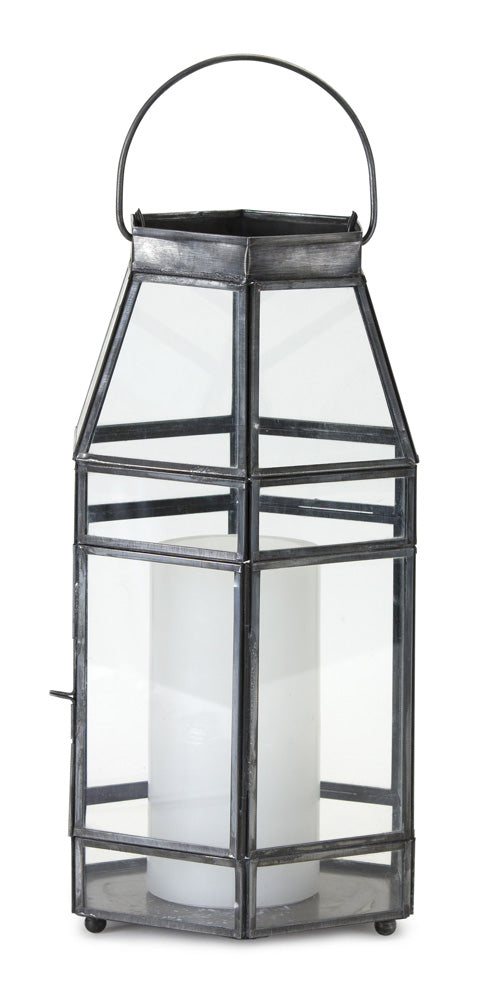 "Lantern 6"" x 12""H Glass/Iron"