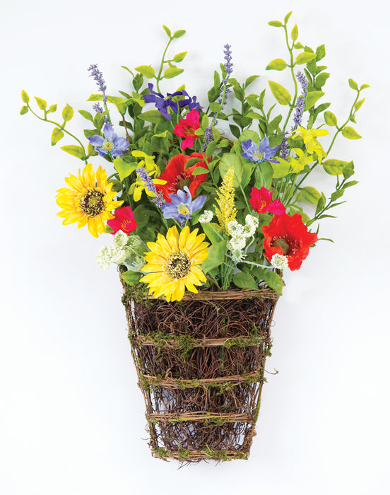 "Sunflower/Poppy Wall Basket (Set of 2) 14"" x 20.5""H Polyester/Plastic"