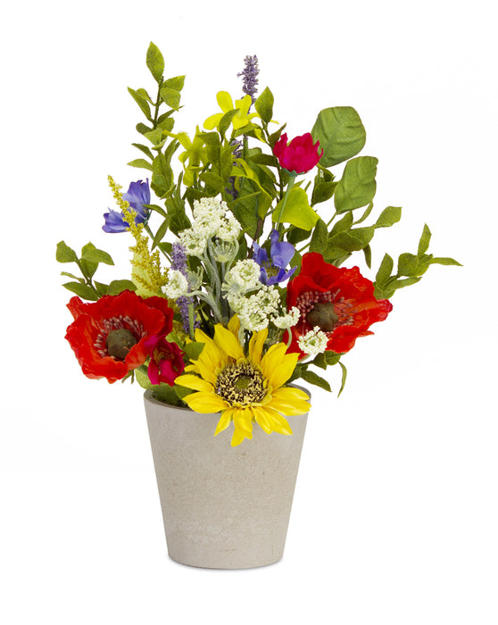 "Sunflower/Poppy Pot (Set of 2) 8"" x 13""H Polyester/Plastic"