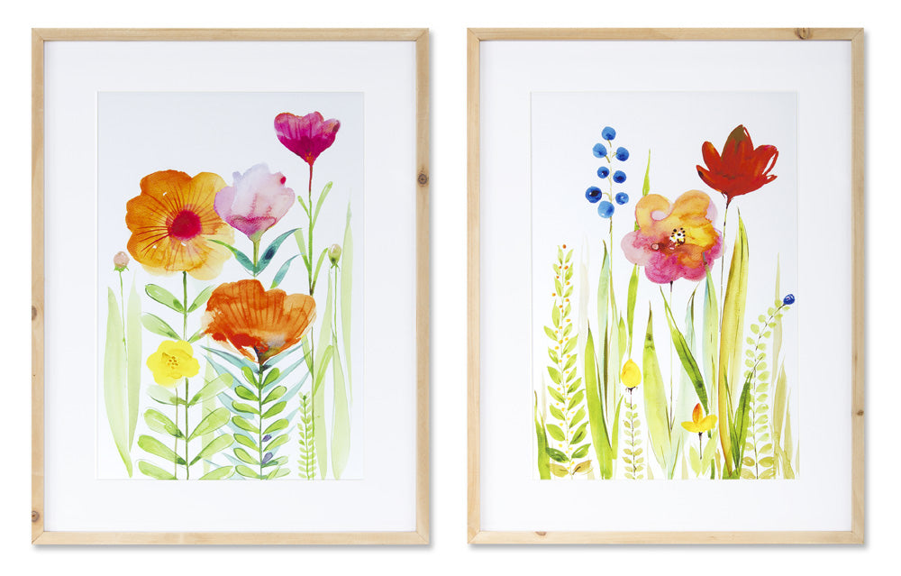 "Floral Watercolor (Set of 2) 15.25"" x 19.75""H Wood/MDF"