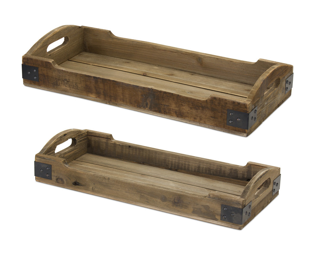 "Tray (Set of 2) 21.5""L, 23.5""L Wood/Iron"