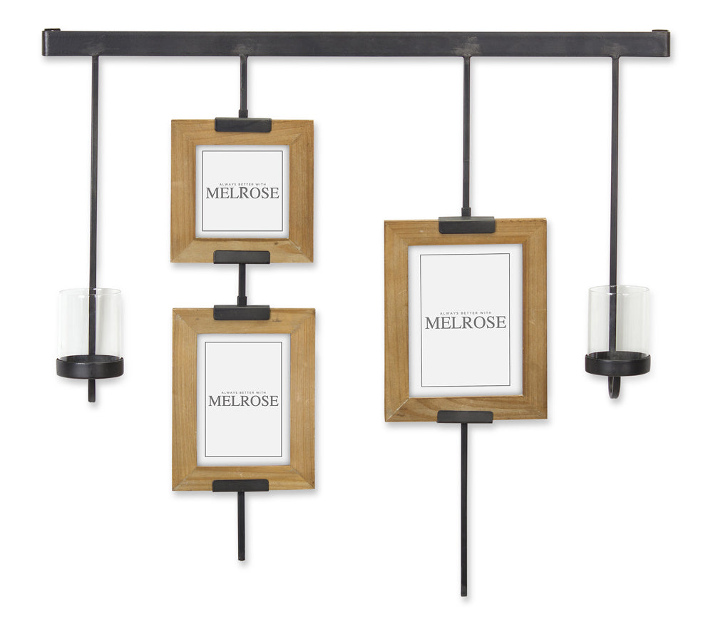 "Wall Frame with Candle Holder 28.5"" x 28""H Iron/Wood"
