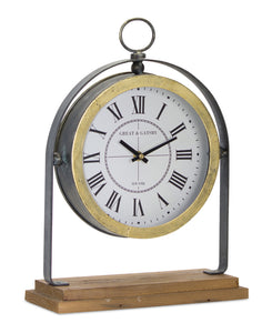"Clock On Stand 11"" x 15.5""H Iron/Wood"