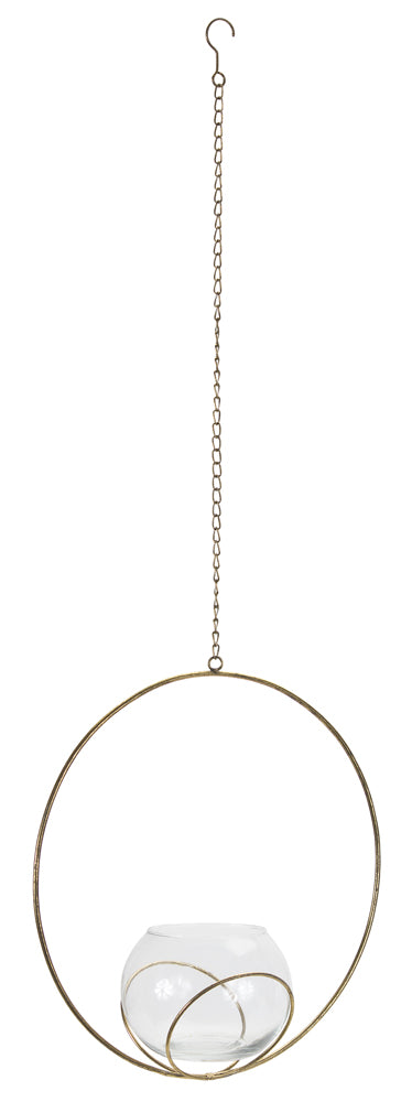 "Votive Holder In Hoop (Set of 2) 13.5"" x 14.75""H Iron/Glass"