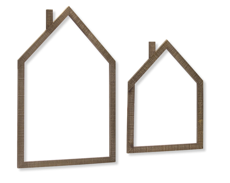 "House Outline (Set of 4) 18"" x 24.25""H, 23.75"" x 35.25""H Wood"