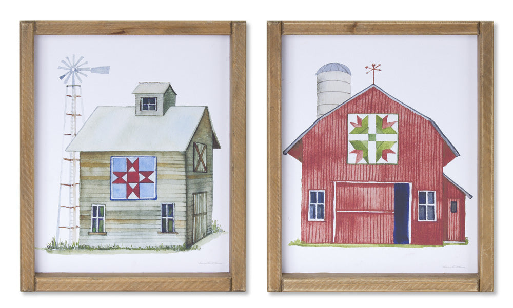 "Framed Barn Print (Set of 4) 8.75"" x 10.75""H MDF/Paper"