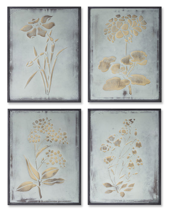 "Framed Floral (Set of 4) 11.75"" x 15.75""H Iron"