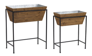 "Planter With Stand  (Set of 2) 18.75"" x 24""H, 23"" x 27.75""H Iron/Wood"