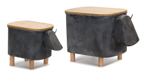 "Cow Planter With Lid (Set of 2) 11"" x 14.5""H, 15"" x 18""H Iron/Wood"