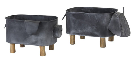 "Cow/Pig Planter (Set of 2) 15.5"" x 8""H, 13"" x 7.5""H Iron"