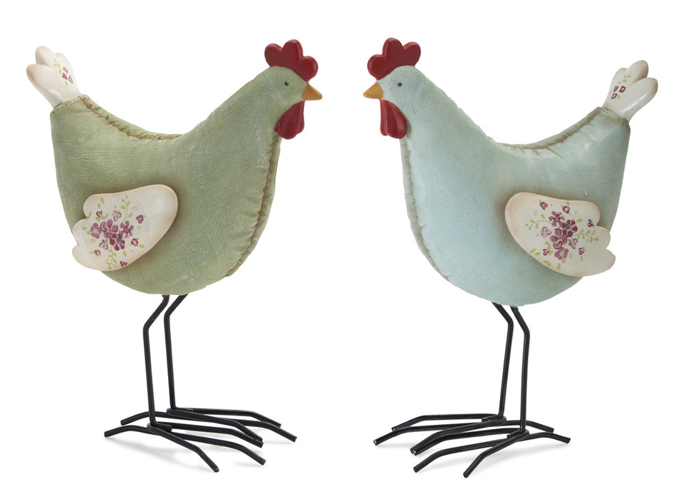 "Chicken (Set of 4) 7.25""H Resin/Stone Powder"