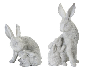 "Rabbit With Bunny (Set of 2) 7.5"" x 7""H, 5.5"" x 11""H Resin/Stone Powder"