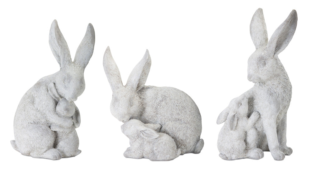 "Rabbit With Bunny (Set of 6) 4.5""H, 5.5""H, 6""H Resin/Stone Powder"