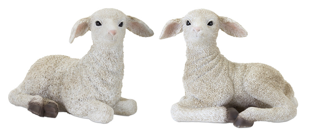 "Lamb (Set of 2) 8"" x 6.5""H Resin/Stone Powder"