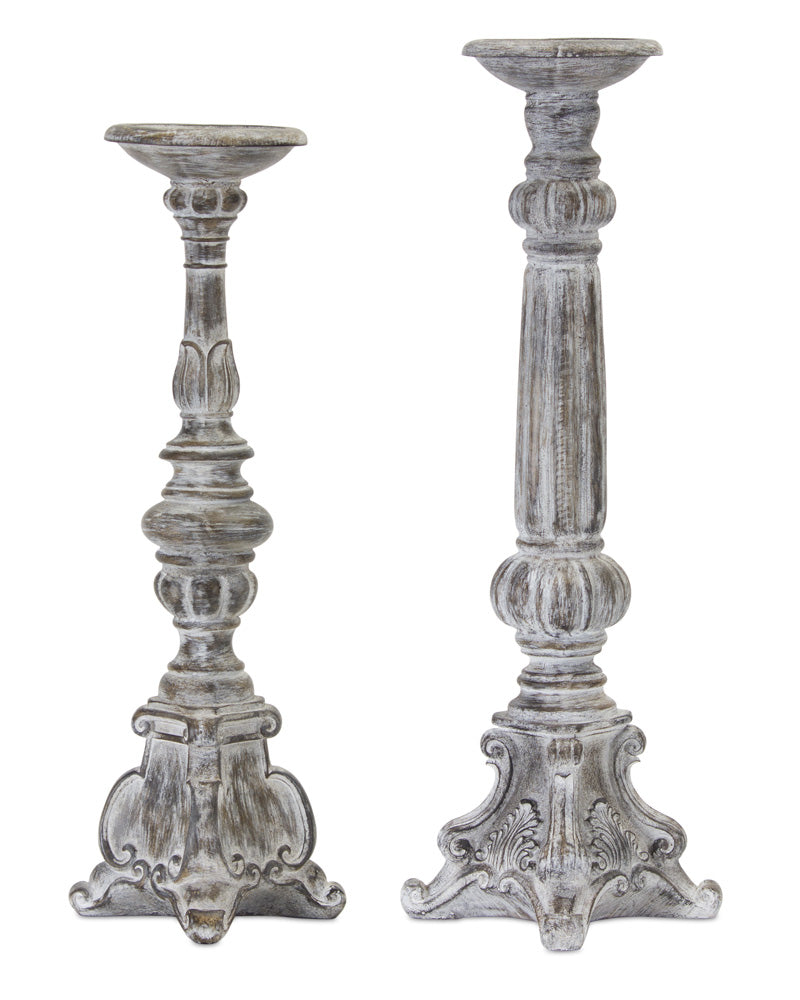 "Candle Holder (Set of 2) 20""H, 22.5""H Resin/Stone Powder"