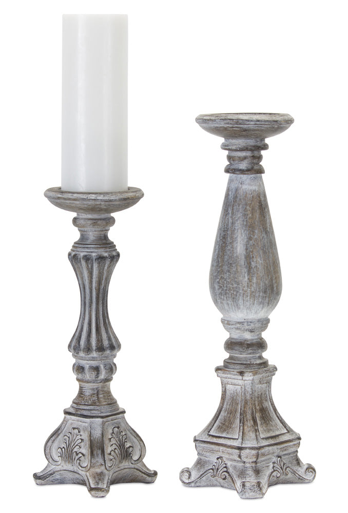 "Candle Holder (Set of 2) 14""H, 17.75""H Resin/Stone Powder"