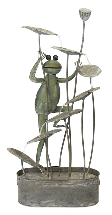 "Frog Fountain 22""W x 47.25""H Iron"
