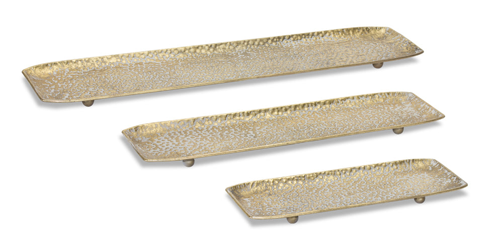 "Tray (Set of 3) 15.25""L, 21.25""L, 27.25""L Metal"