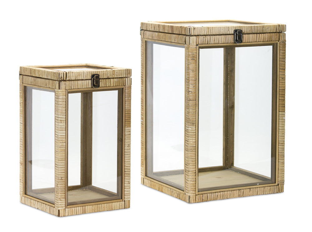 "Box (Set of 2) 14.75""H, 17.75""H Wood/Glass"