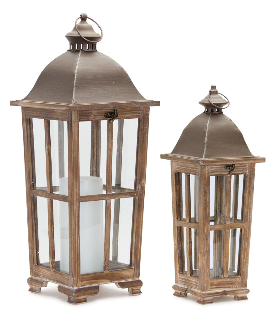 "Lantern (Set of 2) 19""H, 25.75""H Iron/Wood"