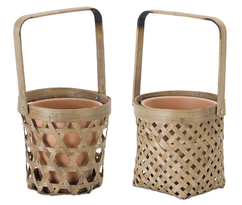 "Basket/Pot Holder (Set of 6) 5""H Bamboo/Terra Cotta"