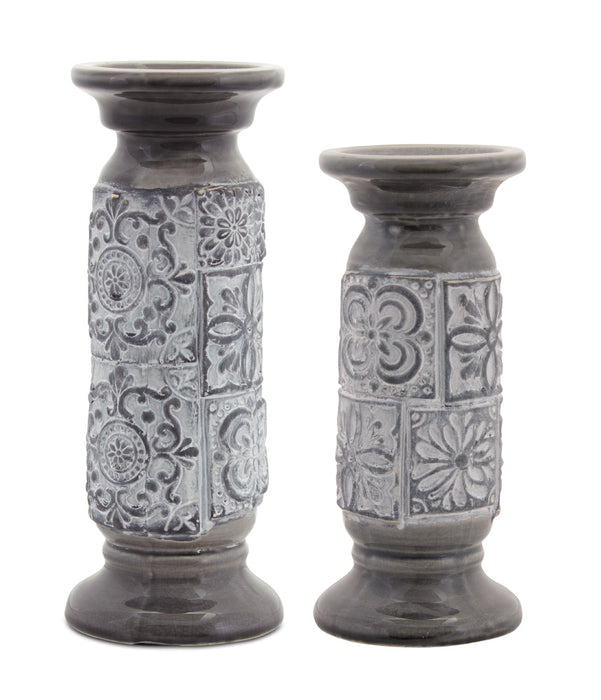 "Candle Holder (Set of 6) 10.25""H, 12""H Terra Cotta"