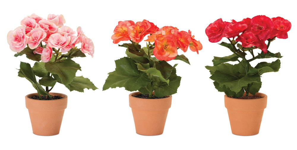 "Floral Bush Potted (Set of 3) 9""H Polyester"