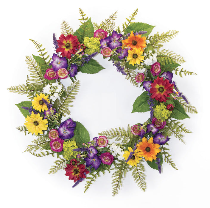 "Mixed Floral Wreath 29""D Polyester"
