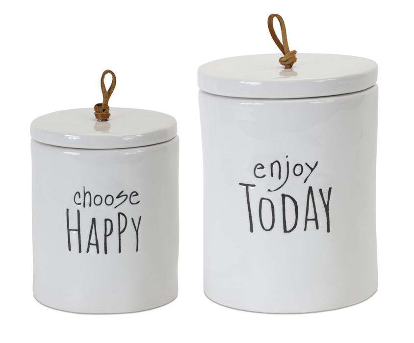 "Canister (Set of 2) 5.75""H, 7.25""H Stoneware"
