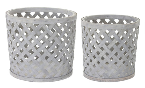 "Basket (Set of 2) 9.5""H, 10""H Wood"