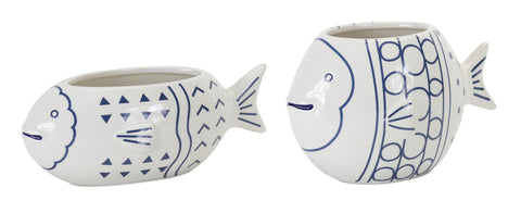 "Fish Planter (Set of 2) 8.75"" x 3.25""H, 7.25"" x 4.75""H Ceramic"