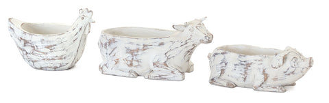 "Farm Animal Planter (Set of 3) 8.25"" x 3""H, 7"" x 4.75""H, 9"" x 4.5""H Resin/Stone Powder"