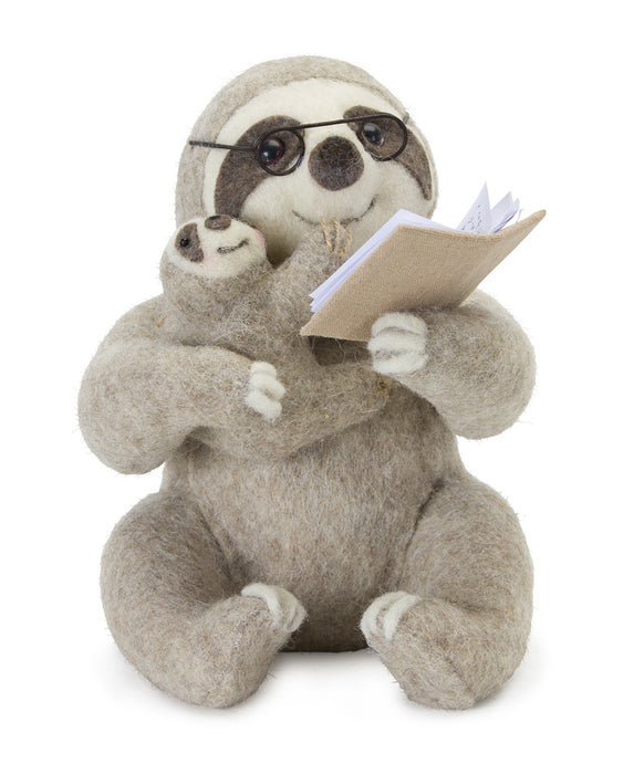 "Sloth Reading (Set of 2) 7.25"" x 10""H Polyester/Foam"