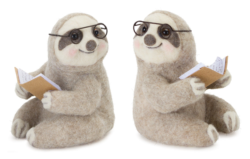 "Sloth Reading (Set of 4) 5.5"" x 6.75""H Polyester/Foam"