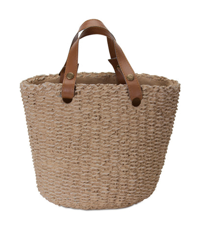 "Basket With Handle (Set of 3) 10.5"" x 8""H Cement"