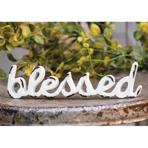 'Blessed' Distressed White Resin Figurine