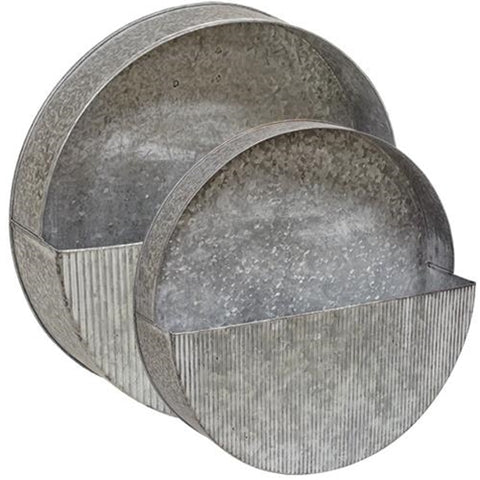 2/Set Washed Galvanized Circle Wall Pockets