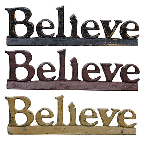 (Believe Resin Sign - Assorted 3 Colors)