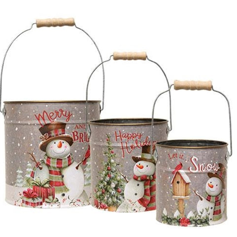 3/Set Metal Snowman Buckets